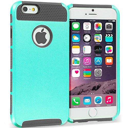 Warrior Wireless (TM) Mint / Grey Hybrid Hard TPU Honeycomb Rugged Case Cover for Apple iPhone 6 Plus 6S Plus (5.5) + Bundle = (ITEM + CELLPHONE STAND) - By TheTargetBuys (Mint Warriors)