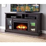 BARSTON LAMINATED WOOD FIREPLACE DARK RUSTIC BROWN TV STAND (Espresso)