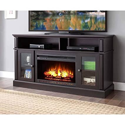 Amazon Com Barston Laminated Wood Fireplace Dark Rustic Brown Tv
