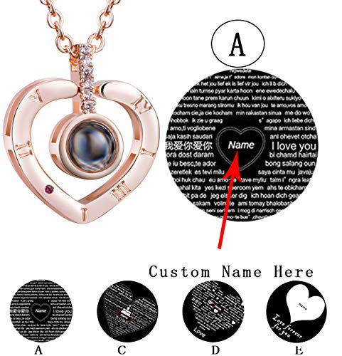 Bowisheet I Love You Necklace 100 Languages Love Memory Necklace Custom Jewelry for Women