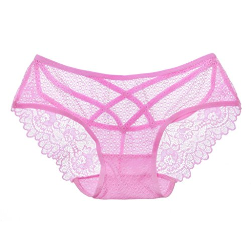 Jiayiqi Descarado Bikini Hipster Tanga Bragas Abierta Espalda Encaje Ropa Interior De Mujer Rosa 2
