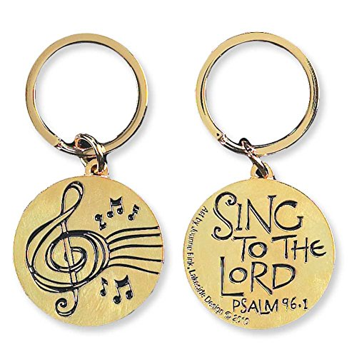 - Sing to the Lord Psalm 96:1 Music Gold Plated Christian Key Ring Keychain