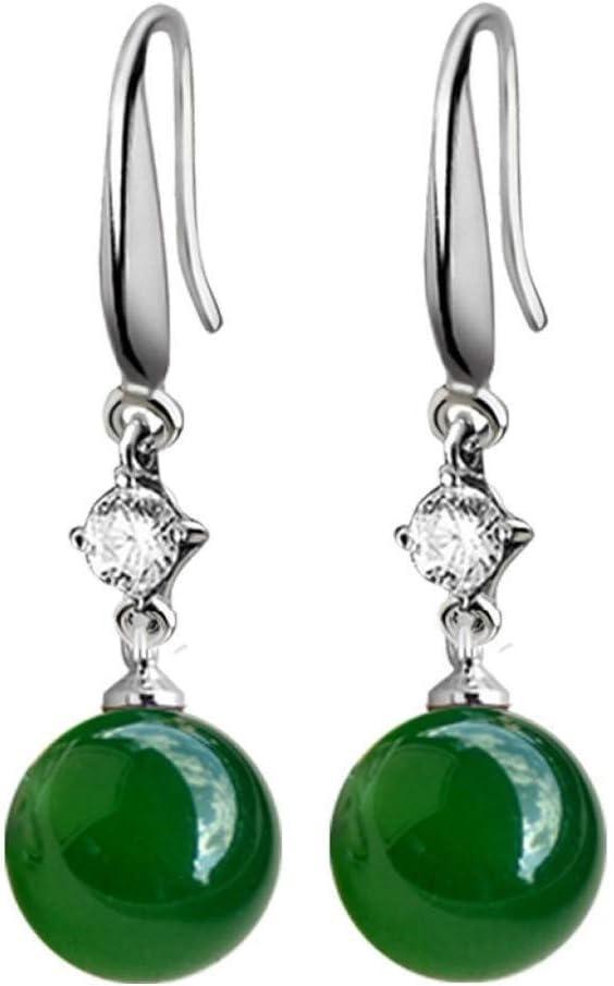 WSNM 925 joyería de Plata de Color Esmeralda Pendientes Verdes Naturales ágata calcedonia Pendientes Piedra Preciosa del Diamante Gota de la Mujer