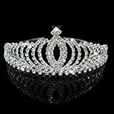 Tinksky Beautiful Wedding Party Bridal Bridesmaid Shining Crystal Rhinestones Crown Headband Tiara Hair Band (Silver)