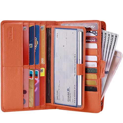 (Itslife Women's Big Fat Rfid Leather wallet clutch organizer checkbook holder (Orange))