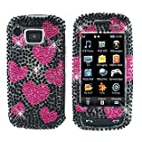 Sparkling Raining Pink Heart Black Full Diamond Rhinestones Bling Design - Snap On Hard Cover Protector Faceplate Case for AT&T Samsung Impression A877