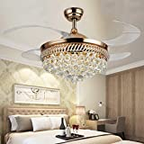 RS Lighting Unique Ceiling Fans K9 Crystal European Luxury Retractable Ceiling Fan Chandelier for Living Bed Restaurant Room Villa-Golden