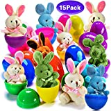 30 PCS Easter Eggs Basket Stuffers Plush Bunnies Toy Plastic Easter Eggs Fillers Bunny Kids Party Favors Surprise Easter Eggs Hunt Games Supplies Toddler Girls Toys Birthday Gifts Goodies bags