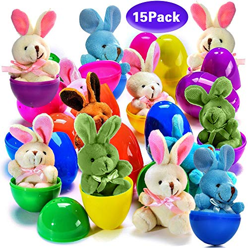 Easter Eggs Filled with Plush Easter Bunny Rabblits 15 Pack Surprise Eggs with Toys Inside Great Party Bag Stuffer Party Favor for Girls Boys Kids Adults Easter Birthday Holiday Gifts ()