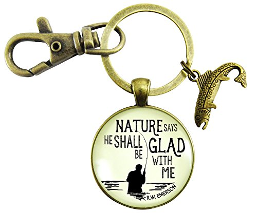 - Fishing Keychain For Dad Nature Says Outdoorsman Rustic Style Bronze Key Ring Sportsman Father Gift Fish Charm