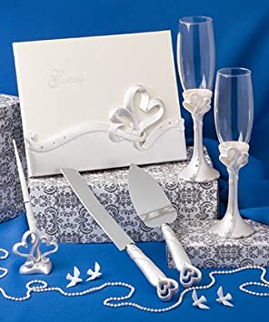 Personalized ENGRAVED Interlocking Heart Themed Wedding Day Accessory Set