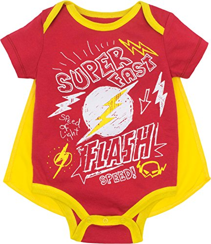 Justice League The Flash Baby Boys' Bodysuit and Cape Set, Red (0-3 Months) ()