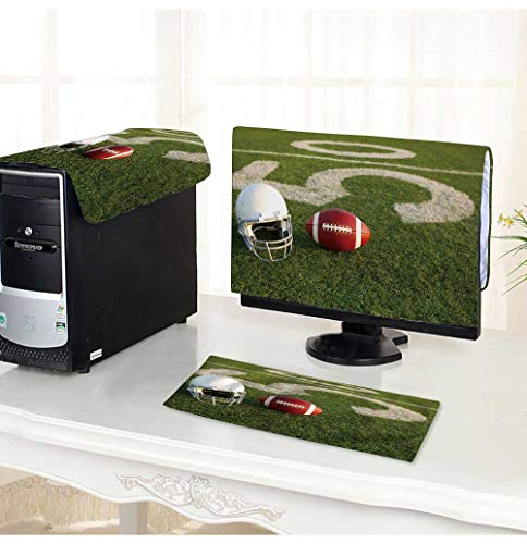 PRUNUS dust Cover for Computer 3 Pieces American Football and Helmet on The Field with The Fifty Yard Line in The Background Suit Computer dust Cover -