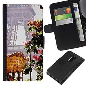 WINCASE Cuadro Funda Voltear Cuero Ranura Tarjetas TPU Carcasas Protectora Cover Case Para LG G2 D800 - Eifel torre primavera justo Francia