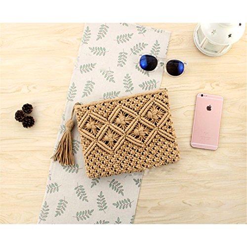 Straw Bag Bohemian Rattan Clutch Bag For Women Crochet Fringed Beach Bag Lady Purse Handmade Weaving Flap Handbag Bolsa Light Coffee