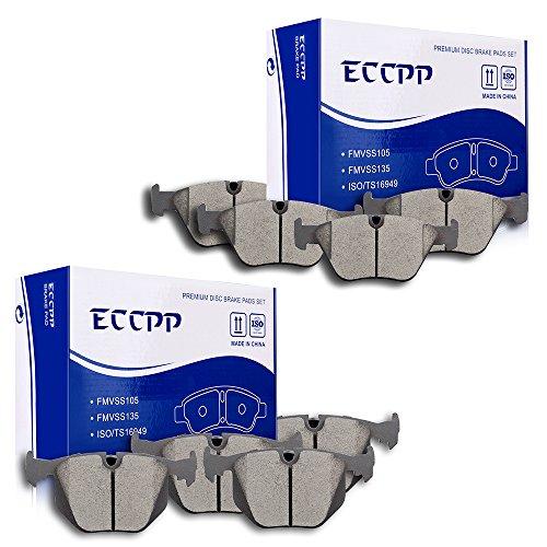 ECCPP 8pcs Full Set Ceramic Disc Brake Pad Kit for 2001-2006 BMW 330Ci,2001-2005 BMW 330i,2001-2005 BMW 330xi,2004-2010 BMW X3