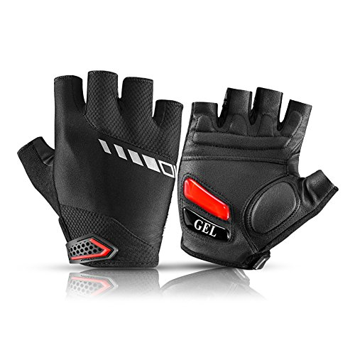 RockBros Cycling Gloves GEL + SBR Shockproof Pad MTB Road Mountain Bike Gloves Breathable Anti-slip Half Finger Bicycle Riding Gloves (L)