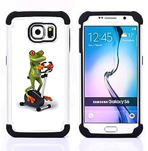 For Samsung Galaxy S6 G9200 - gym sports frog white stationary bicycle Dual Layer caso de Shell HUELGA Impacto pata de cabra con im??genes gr??ficas Steam - Funny Shop -