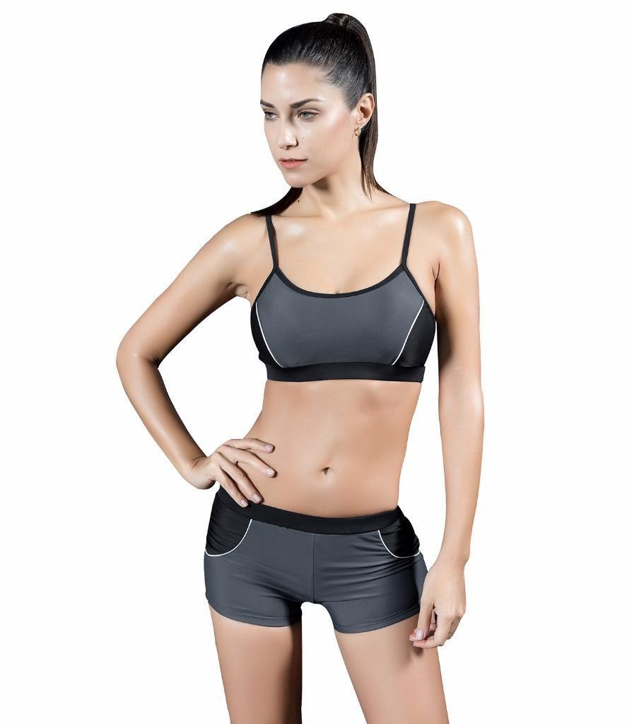 Arcweg Boyleg Bikini Donna Costume da Bagno Due Pezzi Tracolle Regolabili Sportivi Abbigliamento Mare Pad Reggiseno Rotondo Rimovibile Blu 48 Arcweg301746