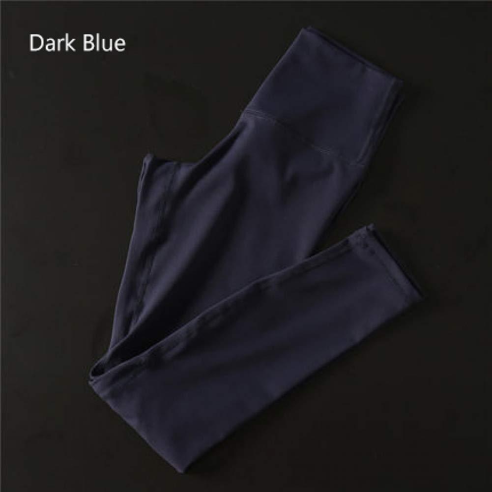Dark bleu NSYJKPantalon de yogaPantalon de Yoga Ultra Extensible pour Gymnase avec contrôle de Ventre avec Poche cachée Taille Haute Leggings Sport Push Up Pants Large