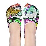 Casual No Show Socks Women Graffiti Hip-hop Colorful Boat Shoe Loafers Ankle Socks Women