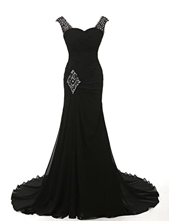 Grace Lee Womens Long Prom Dresses Sweetheart Mermaid Evening Gowns Beaded S Black