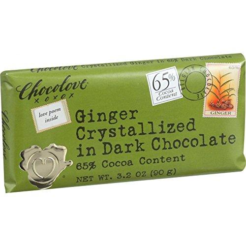 Chocolove Xoxox Premium Chocolate Bar - Dark Chocolate - Ginger Crystallized - 3.2 oz Bars - Case of 12 - Chocolove Chocolate Crystallized Ginger