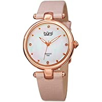 Burgi Designer Women's Watch with Diamond Accented Markers on Mother of Pearl Dial – Pink Skinny Genuine Leather Bracelet Strap - Classic Round Analog Quartz – BUR169PK