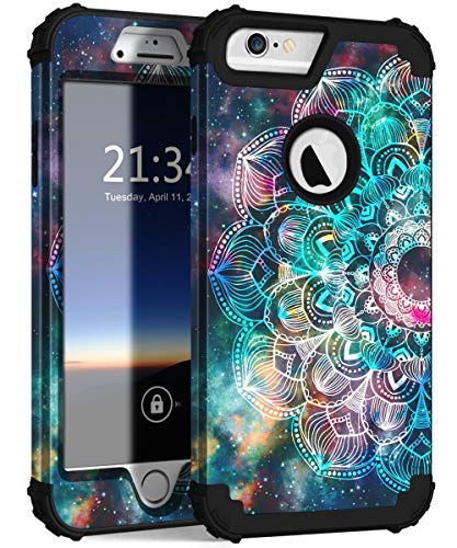 Hocase iPhone 6s Plus Case, iPhone 6 Plus Case, Heavy Duty Shockproof Protection Hard Plastic+Silicone Rubber Protective Case for iPhone 6 Plus/6s Plus (5.5-inch Display) - Mandala in Galaxy