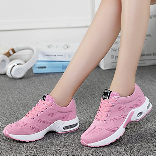 Solshine Damen Schnür Fitness Laufschuhe Sneakers Turnschuhe Low Top Freizeitschuhe Rosa