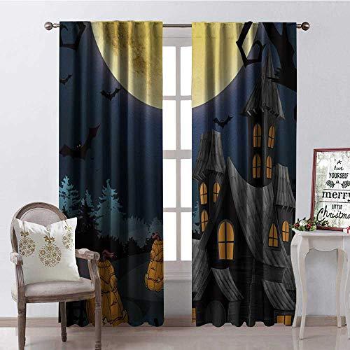 Hengshu Halloween Pumpk Castle Room Darkening Wide Curtains Decor Curtains by W108 x L84]()