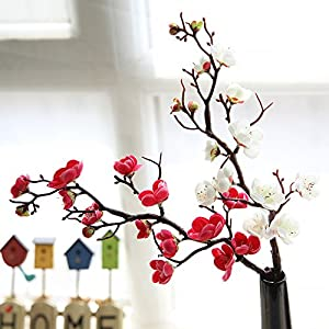 10pcs Plum Blossom Flower Cloth Artificial Flower Room Table Decorative Fake Flowers Home Living Room Hotel Wedding Party Christmas New Year Decoration Holiday Gift 6