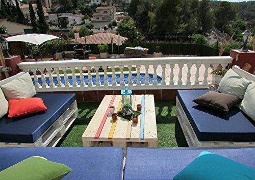 3 X Colchón Europalet para palet 120x80 cm en tela de diferentes colores. Fabricado en España. (Azul marino): Amazon.es: Jardín