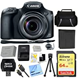 Canon PowerShot SX60 HS 16.1MP 65x Optical Zoom Wide Angle Lens Digital Camera with 64GB Ultimate Bundle Includes Case 64GB SDXC Memory Card Tripod Extra Battery Kit Cleaning Accessories & More