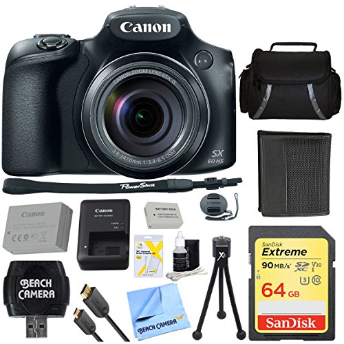 Canon PowerShot SX60 HS 16.1MP 65x Optical Zoom Wide Angle Lens Digital Camera with 64GB Ultimate Bundle Includes Case 64GB SDXC Memory Card Tripod Extra Battery Kit Cleaning Accessories & More by Canon
