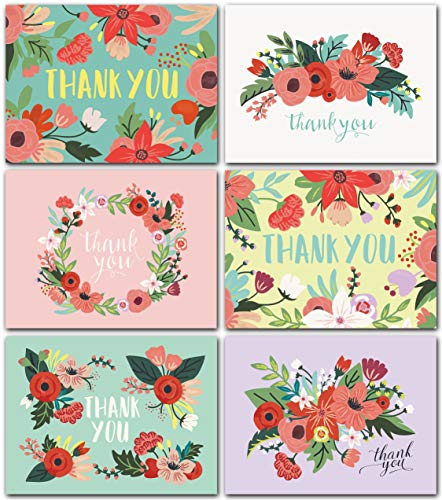 Floral Thank You Cards Bulk Box Set of 48 Blank Cards with Envelopes - Baby Shower Note Cards, Wedding Thank You Cards or Bridal Shower Thankyou ()