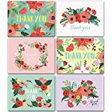 Floral Thank You Cards Bulk Box Set of 48 Blank Cards with Envelopes - Baby Shower Note Cards, Wedding Thank You Cards or Bridal Shower Thankyou Card