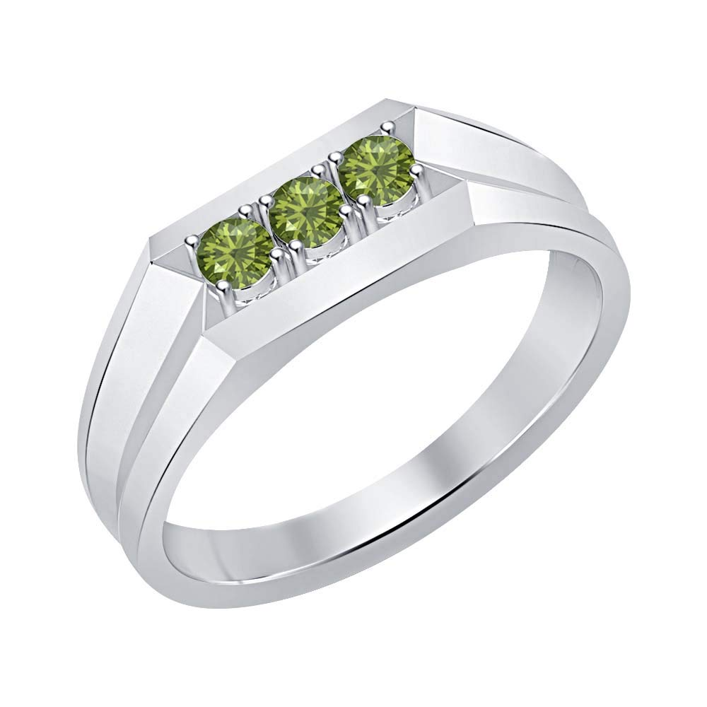 RUDRAFASHION 14k White Gold Over Sterling Silver Round Cut Green Tourmaline Mens Anniversary Band Ring