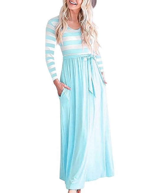 Tomwell Vestido de Premamá Mujeres Embarazadas Cuello U Vestido Maxi sin Mangas de Verano Azul ES