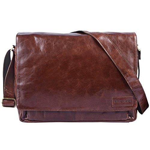 STILORD 'Rick' Bolso de piel Vintage Laptop Hombres Mujeres marrón 15.6' Pulgada elegante Unisexe Trabajocuero auténtico de búfalo, Color:rosso chocolate - marrón
