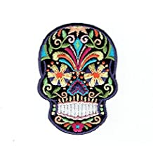 Black Sugar Skull - Blue/Yellow Flower Eyes- Day of the Dead - Dia De Los Muertos - Iron on Embroidered Patch