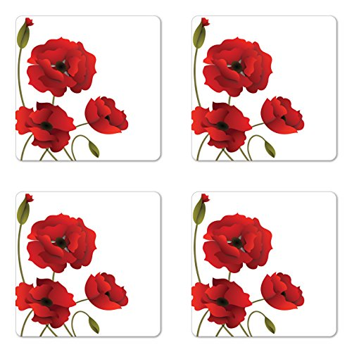 Ambesonne Floral Coaster Set of Four, Poppy Flowers Vivid Petals with Buds Pastoral Purity Mother Earth Nature Design, Square Hardboard Gloss Coasters for Drinks, Red Green ()