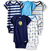 Gerber Baby Boys' 5 Pack Onesies, Safari, Newborn