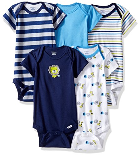 Gerber Baby Boys' 5-Pack Short-Sleeve Onesies Bodysuit, Safari, 6-9 Months