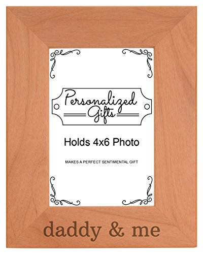Father's Day Gift Daddy's & Me Son Daughter Natural Wood Engraved 4x6 Portrait Picture Frame Wood