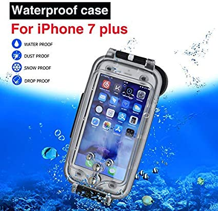 Cover impermeabile per iPhone 7/8 Plus nera, custodia da immersione fino a 130 piedi/40 metri sott'acqua subacquea da 5.5 pollici
