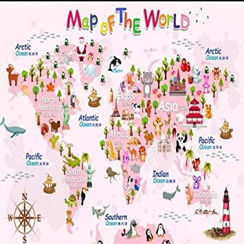 Amazon hand drawn cartoon animal world map wallpaper childrens hand drawn cartoon animal world map wallpaper childrens room wallpaper for walls decoration wall murals gumiabroncs Image collections
