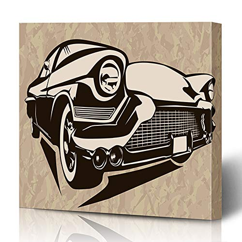 (Ahawoso Canvas Prints Wall Art 16x16 Inches Garage Old Vintage Muscle Cars Inspired Motor Sketch Classic Retro American Rod Decor for Living Room Office Bedroom)