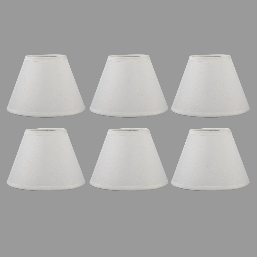 AFY Clip Candle Lampshade Fabric White Color Chandelier Lamp Shades ...