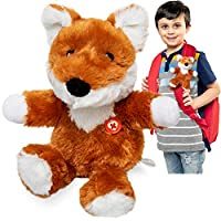 GoPals Stuffed Animal Plush Toy - Clip on to Backpack, car seat Belt, Bike and Scooters. Best Gifts for Kids. (Jack The Fox)